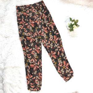 H&M Black Floral Print Pants High Waisted sz 6